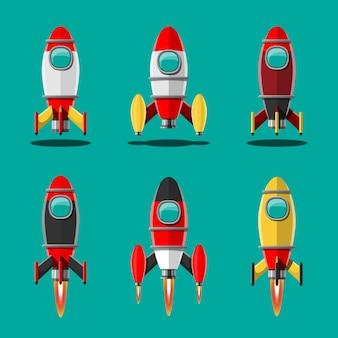Ilustración de dibujos animados conjunto aislado de lanzamiento de cohete. cohetes de misión espacial con humo.