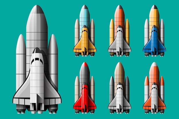 Ilustración de dibujos animados conjunto aislado de lanzamiento de cohete.