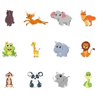 Ilustración de dibujos animados de conjunto de animales.