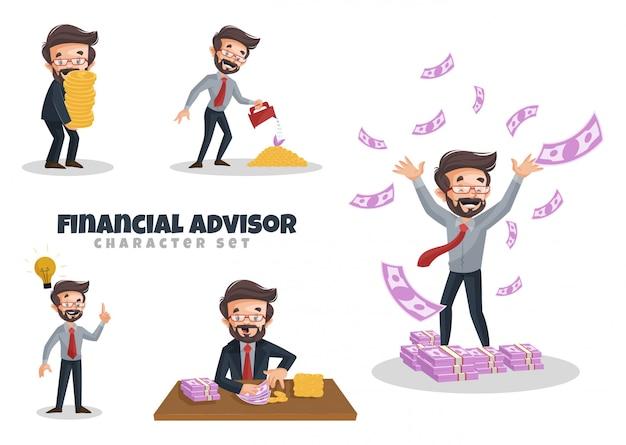 Ilustración de dibujos animados de conjunto de caracteres de asesor financiero