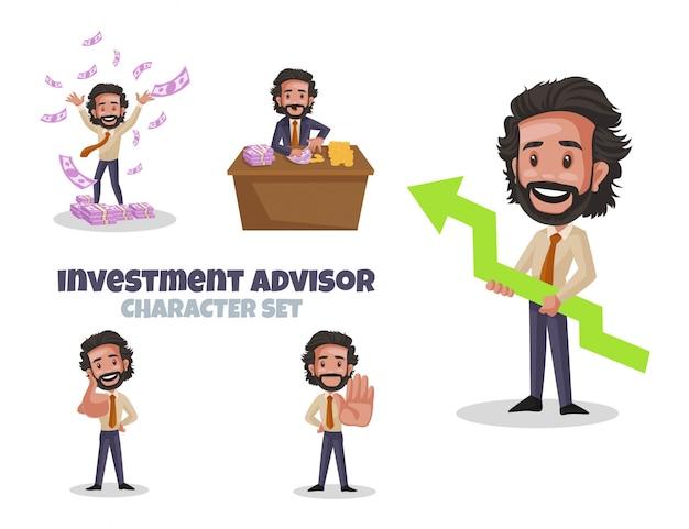 Ilustración de dibujos animados de conjunto de caracteres de asesor de inversiones