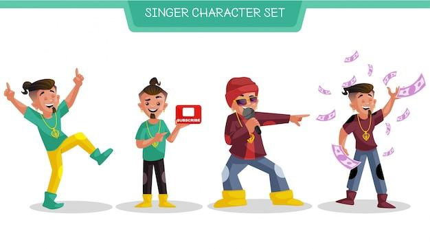 Ilustración de dibujos animados de conjunto de caracteres de cantante
