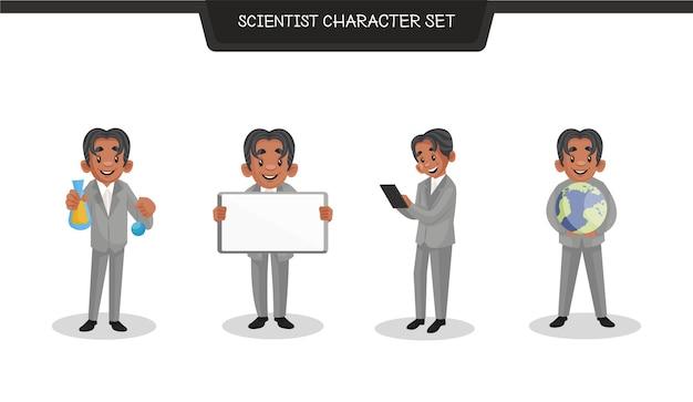 Ilustración de dibujos animados del conjunto de caracteres científico