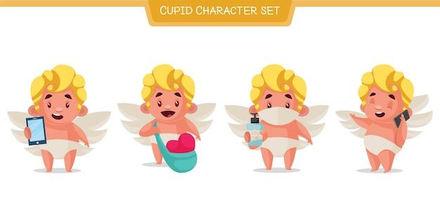 Ilustración de dibujos animados del conjunto de caracteres de cupido