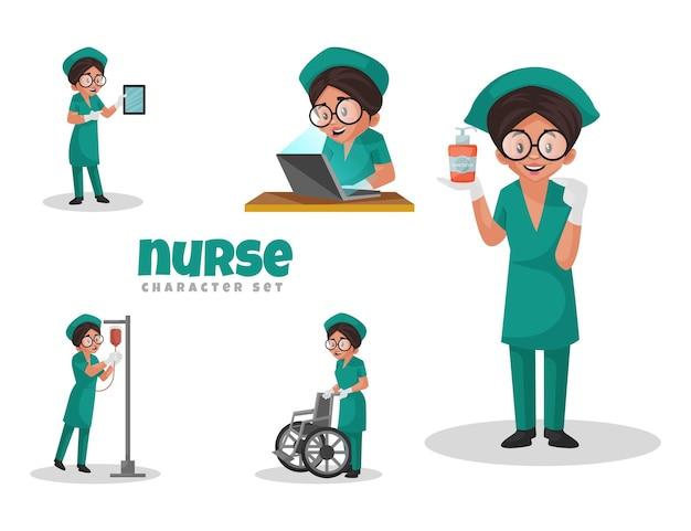 Ilustración de dibujos animados de conjunto de caracteres de enfermera