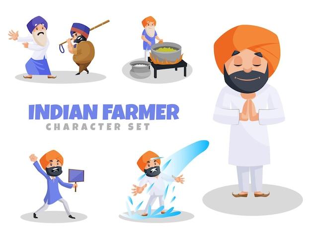 Ilustración de dibujos animados de conjunto de caracteres de granjero indio