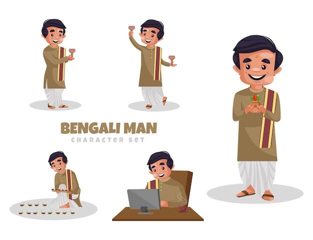 Ilustración de dibujos animados de conjunto de caracteres de hombre bengalí