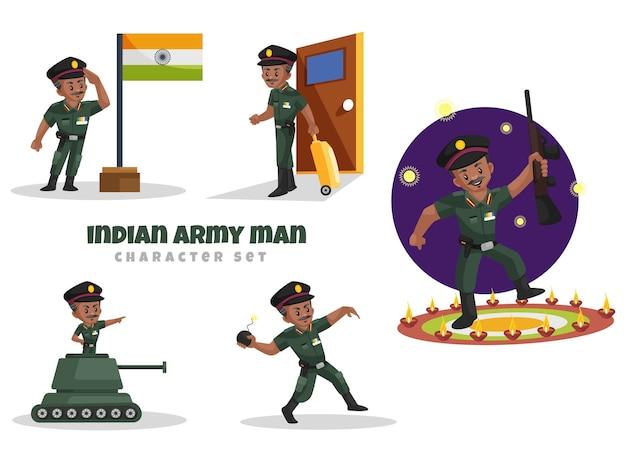 Ilustración de dibujos animados del conjunto de caracteres del hombre del ejército indio