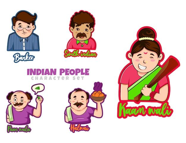 Ilustración de dibujos animados del conjunto de caracteres del pueblo indio