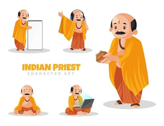 Ilustración de dibujos animados de conjunto de caracteres de sacerdote indio