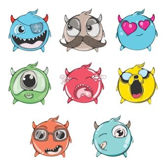 Ilustración de dibujos animados de conjunto emoji divertido.