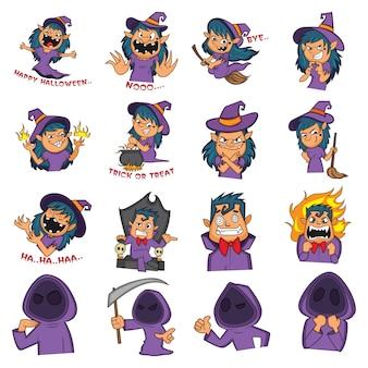 Ilustración de dibujos animados de conjunto de halloween.