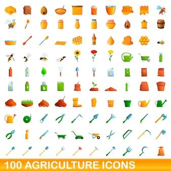 Ilustración de dibujos animados de conjunto de iconos de agricultura aislado sobre fondo blanco