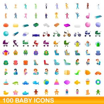 Ilustración de dibujos animados de conjunto de iconos de bebé aislado en blanco
