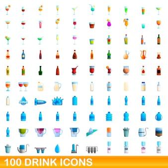 Ilustración de dibujos animados de conjunto de iconos de bebida aislado en blanco