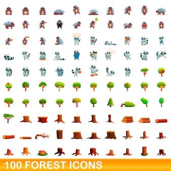 Ilustración de dibujos animados de conjunto de iconos de bosque aislado en blanco