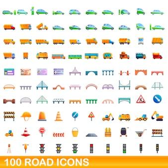 Ilustración de dibujos animados de conjunto de iconos de carretera aislado en blanco