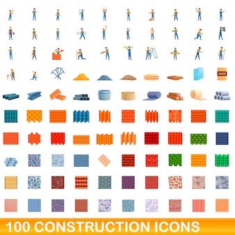 Ilustración de dibujos animados de conjunto de iconos de construcción aislado en blanco