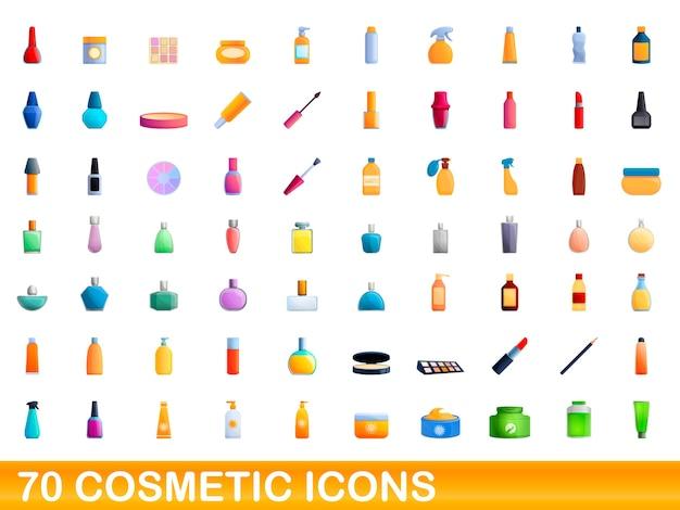 Ilustración de dibujos animados de conjunto de iconos de cosméticos aislado en blanco