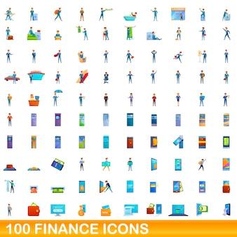 Ilustración de dibujos animados de conjunto de iconos de finanzas aislado en blanco
