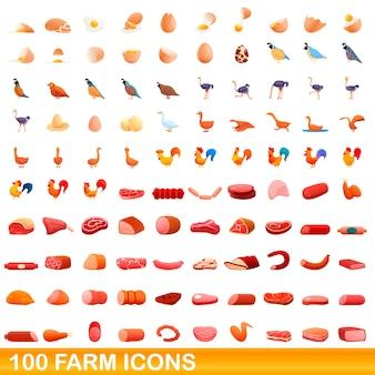Ilustración de dibujos animados de conjunto de iconos de granja aislado en blanco