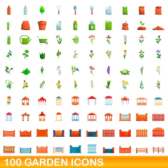 Ilustración de dibujos animados de conjunto de iconos de jardín aislado sobre fondo blanco