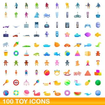 Ilustración de dibujos animados de conjunto de iconos de juguete aislado en blanco