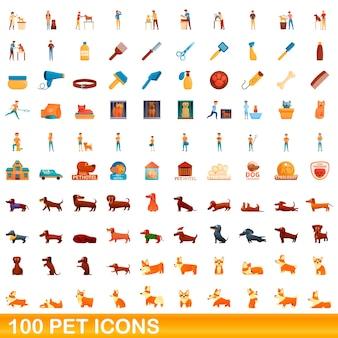 Ilustración de dibujos animados de conjunto de iconos de mascotas aislado en blanco
