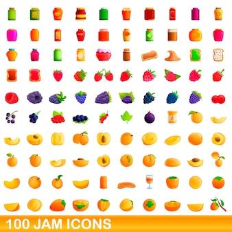 Ilustración de dibujos animados de conjunto de iconos de mermelada aislado en blanco
