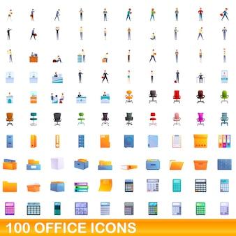 Ilustración de dibujos animados de conjunto de iconos de oficina aislado en blanco