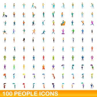 Ilustración de dibujos animados de conjunto de iconos de personas aislado en blanco
