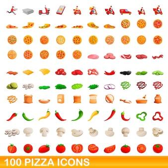 Ilustración de dibujos animados de conjunto de iconos de pizza aislado en blanco