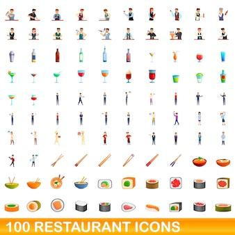 Ilustración de dibujos animados de conjunto de iconos de restaurante aislado en blanco