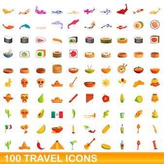 Ilustración de dibujos animados de conjunto de iconos de viaje aislado en blanco