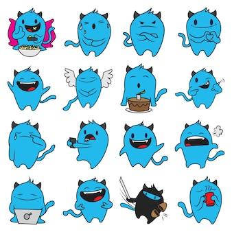 Ilustración de dibujos animados de conjunto de monstruo azul