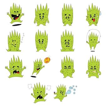 Ilustración de dibujos animados de conjunto monstruo verde.