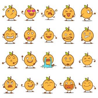 Ilustración de dibujos animados conjunto naranja