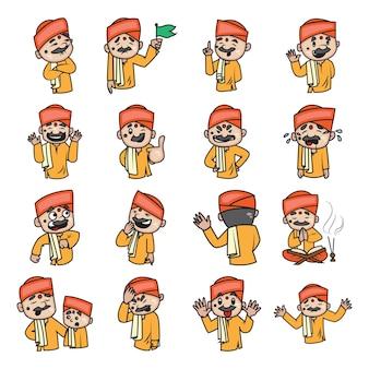 Ilustración de dibujos animados de conjunto pandit indio.