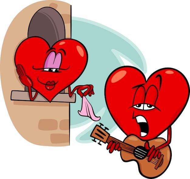 Ilustración de dibujos animados de corazón amor canción