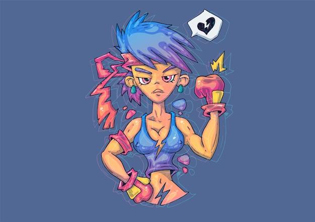 Ilustración de dibujos animados creativos. la chica valiente es una luchadora.