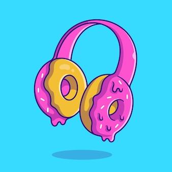 Ilustración de dibujos animados de crema de donut de auriculares. estilo de dibujos animados plana