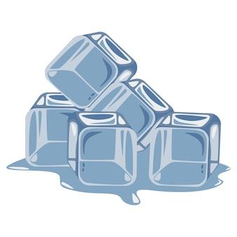 Ilustración de dibujos animados de cubitos de hielo sobre un fondo blanco.