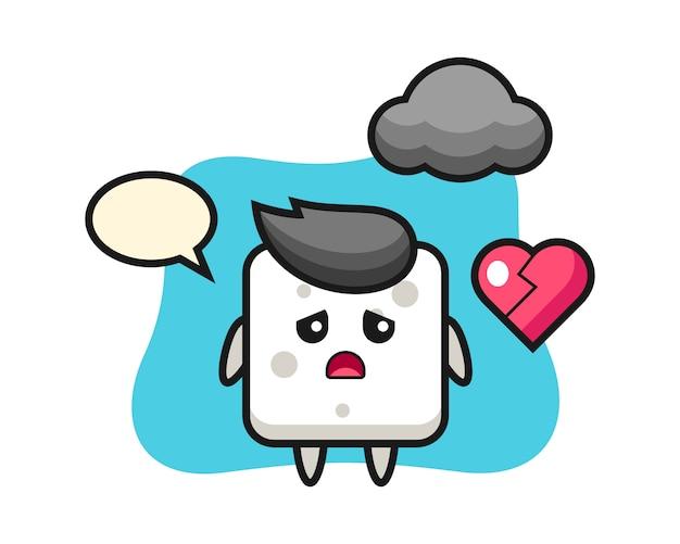 Ilustración de dibujos animados de cubo de azúcar es corazón roto, estilo lindo para camiseta, pegatina, elemento de logotipo
