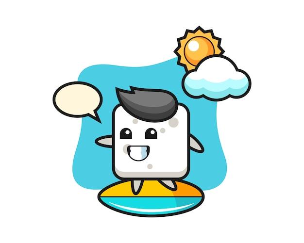 Ilustración de dibujos animados de cubo de azúcar hacer surf en la playa, estilo lindo para camiseta, pegatina, elemento de logotipo