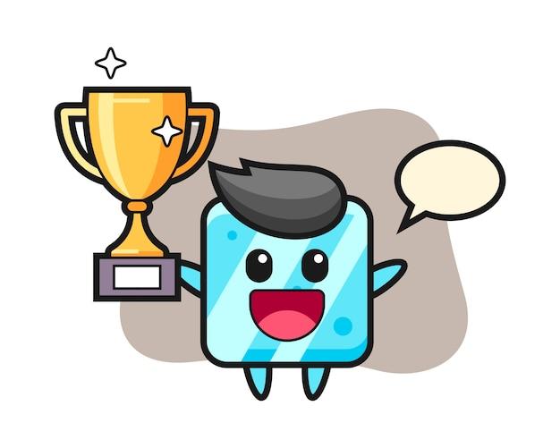 La ilustración de dibujos animados del cubo de hielo es feliz sosteniendo el trofeo de oro