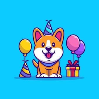 Ilustración de dibujos animados de cumpleaños de corgi. concepto de icono de fiesta animal