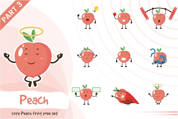 Ilustración de dibujos animados de cute peach fruit set
