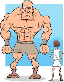 Ilustración de dibujos animados de david y goliath