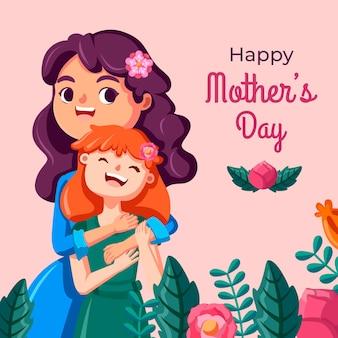 Ilustración de dibujos animados del día de la madre vector gratuito