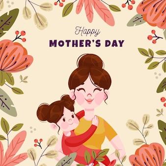 Ilustración de dibujos animados del día de la madre Vector Premium